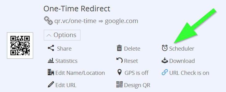 option menu of qr code