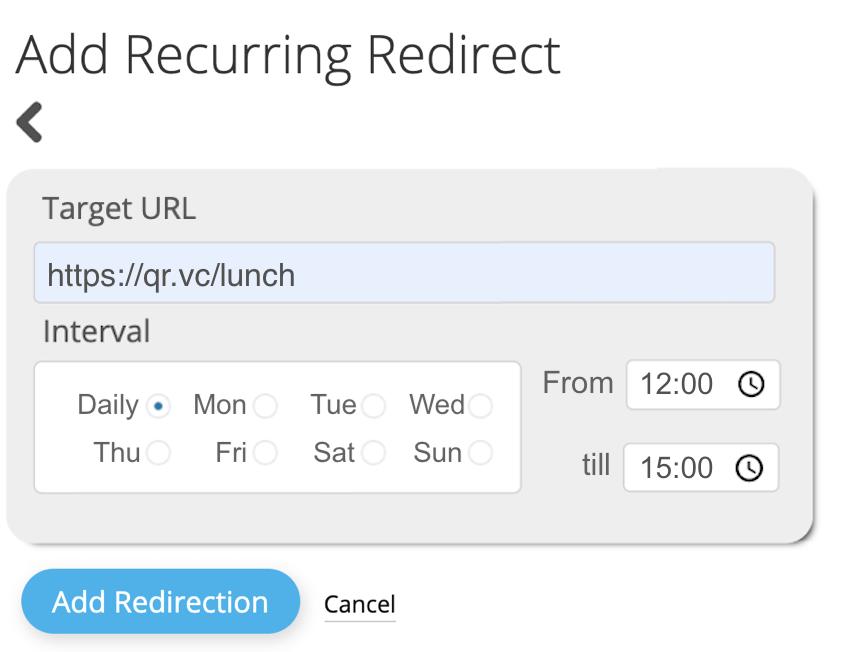 edit scheduled redirections