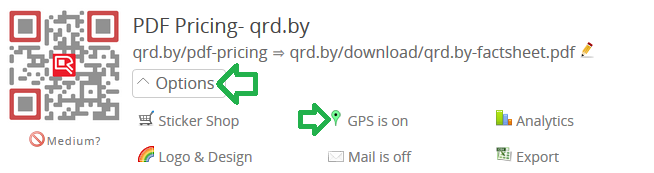 Enable GPS tracking in option menu of QR Code